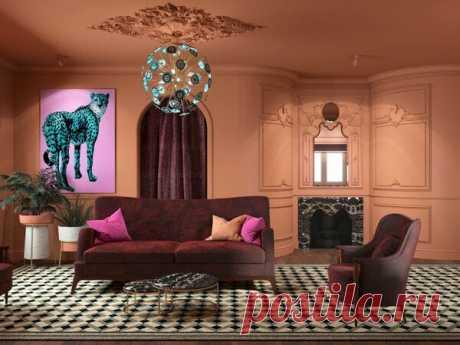 Дачный ответ: терракотовая гостиная с элементами рококо | flqu.ru - квартирный вопрос. Блог о дизайне, ремонте