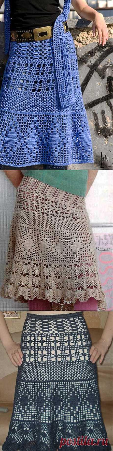 Ажурная юбка крючком.