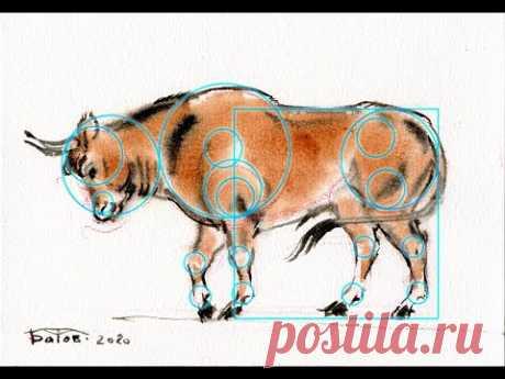 Простое рисование. Рисуем быка. A simple drawing of a bull