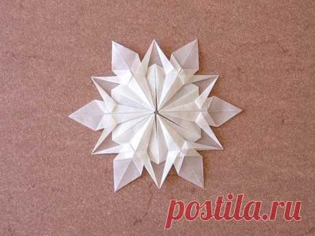Снежинка без ножниц. Оригами