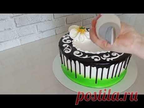 МК Удивительно простой, необыкновенно красивый кремовый торт. Рецепт шоколадной глазури для подтеков