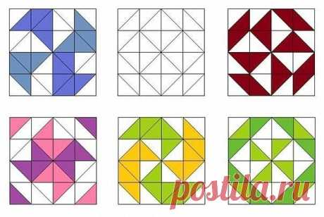 Образцы лоскутных блоков с использованием квадратов и треугольников — Сделай сам, идеи для творчества - DIY Ideas