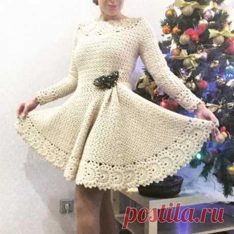Миленькое вязаное крючком платье. Схемы узоров