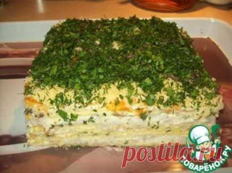 Селедочный торт на вафельных коржах - кулинарный рецепт