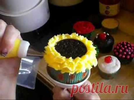 How to Decorate Sunflower Cupcakes (Decorating Tutorial) - YouTube