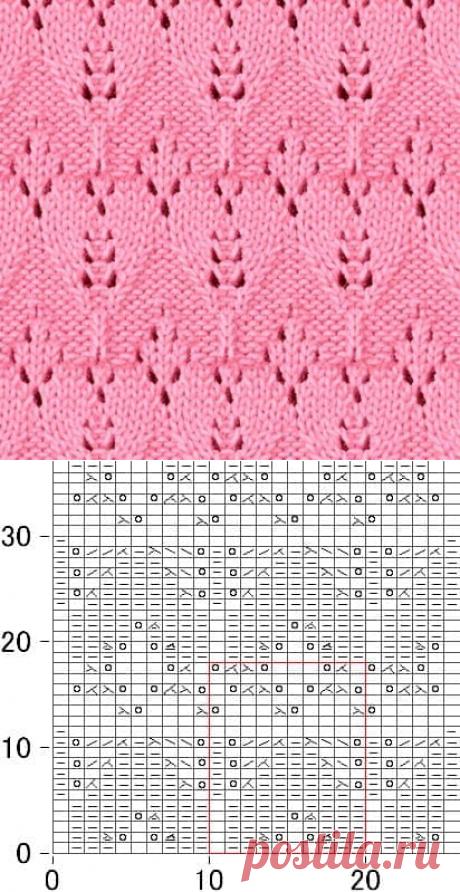 Японский ажурный узор спицами - схема   Ажурные Узоры