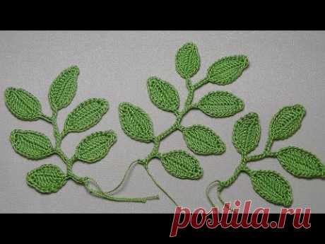 Knitting of a branch of leaves - a knitting lesson a hook - Crochet Leaf