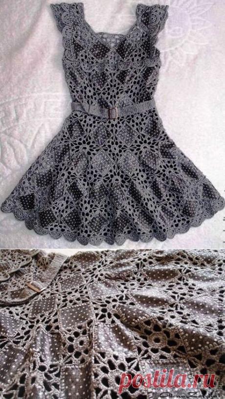 Авторское дымчато-серое платье.