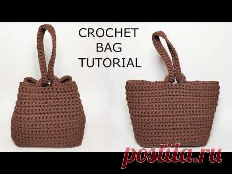 Стильная сумка из трикотажной пряжи крючком. Fashion bag of T Shirt yarn Crochet. ENGLISH TEXT