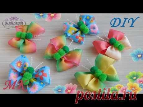 Las mariposas-bantiki \ud83c\udf80 de reps gradientnyh de las cintas y los pompones. МК\/DIY \ud83d\udc50