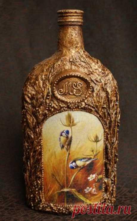 Декоративная бутылка в технике «Терра». Мастер-класс от Марии Спириной