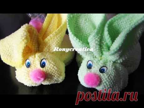 Cómo hacer conejitos de toalla - Baby shower souvenir \/ Ronycreativa - YouTube