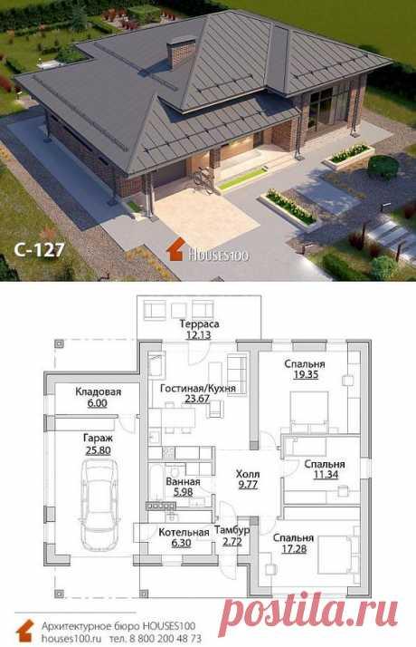Проект дома C-127 (7/7) Проект красивого одноэтажного дома в стиле Райта с гаражом от Houses100, площадью 129м2