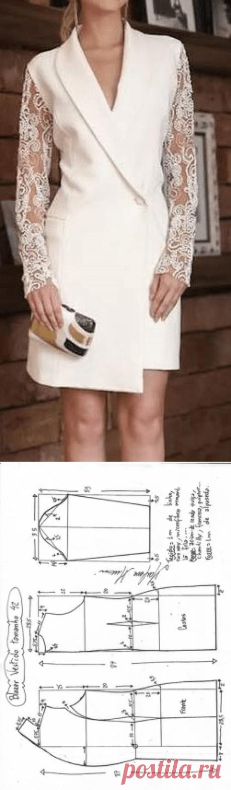 АТЕЛЬЕ дизайнерской одежды: шитье, выкройки.Платье в виде удлиненного жакета. Размеры 36-56 в файле PDF