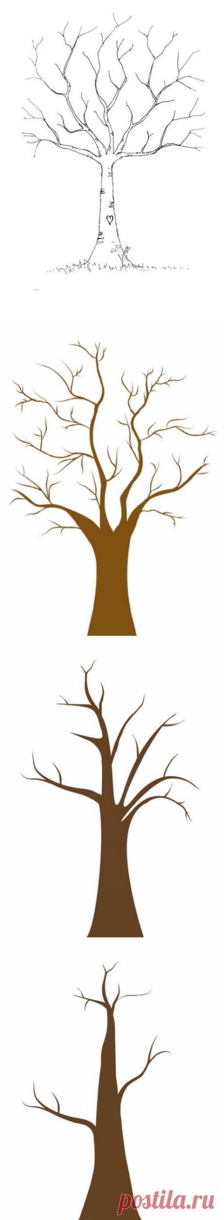 Шаблоны деревьев для рисования пальчиками - Поделки с детьми | Деткиподелки