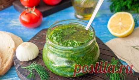 Быстрый чесночный соус с зеленью Приготовьте хотя баночку – не пожалеете!