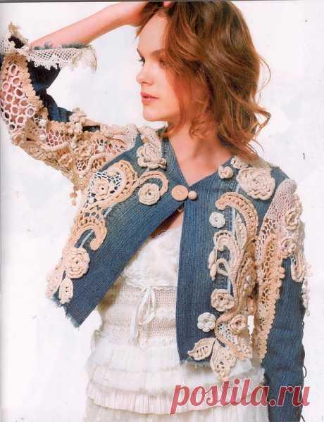 Жакет в стиле БОХО из журнала Мод Вязание № 585. Джинсовая ткань + крючок. Для молодых и дерзких!