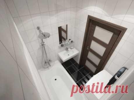 Дизайн раздельного санузла: туалет и ванна в одном стиле, фото в пятиэтажной панельке