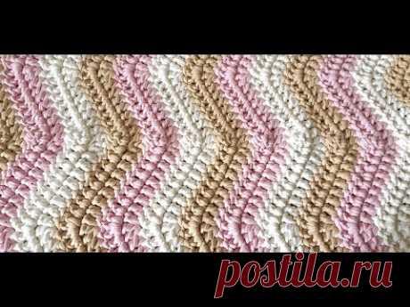 Коврик зиг-заг из трикотажной пряжи/Трехцветный коврик