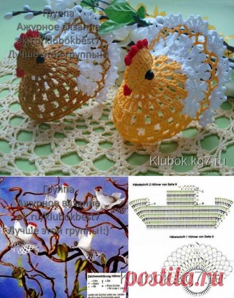 Las liebres de Pascua y las gallinitas de Pascua - el esquema de la labor de punto de la foto   el Pelotón