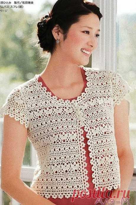 Кофточка крючком для начинающих | Вязание для женщин | Вязание спицами и крючком. Схемы вязания.