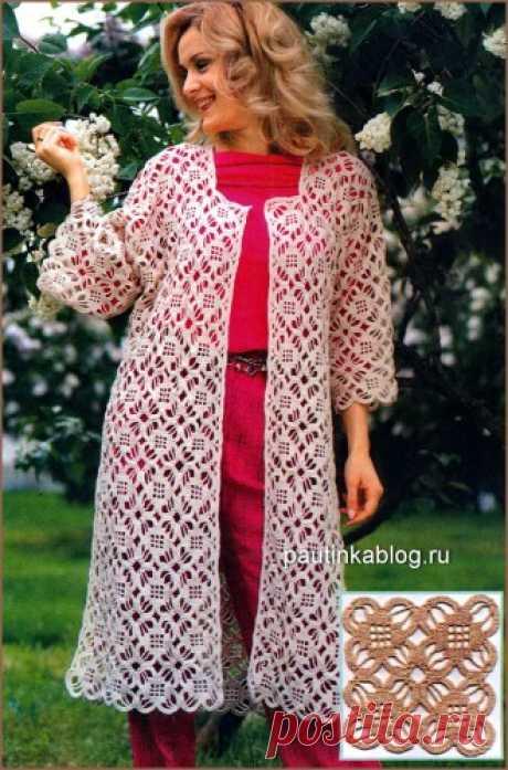 Кружевное летнее пальто - Схемы вязания кардиганы - Схемы для вязания - Уроки вязания крючком - Вязание крючком, схемы для вязания крючком