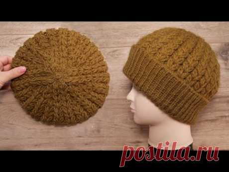 Шапка «Колос» спицами 🌾 Knitted hat «Ear of wheat»