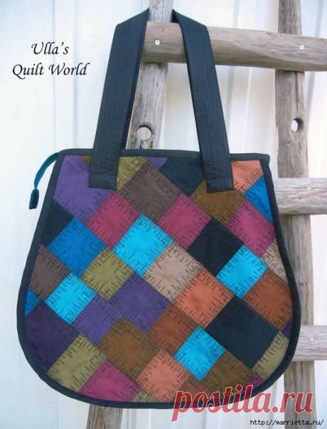 Накидка для кресла, коврик и сумочка из разноцветных лоскутков