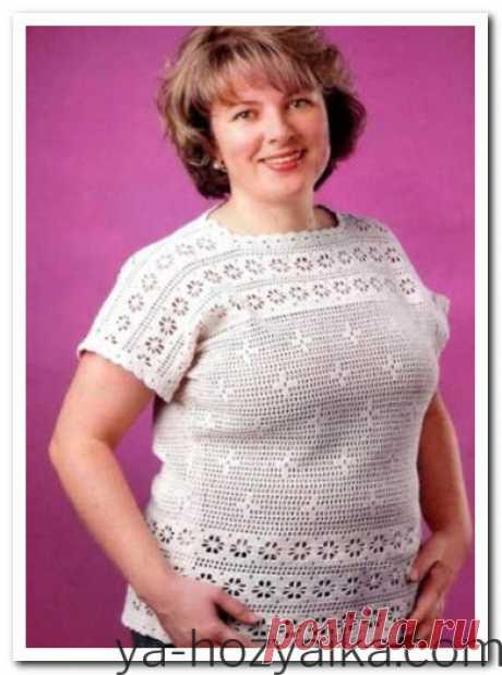 Вязаная блузка крючком для полных. Вязание крючком для полных женщин летних кофточек
