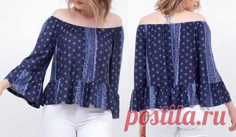 Блуза, выкройка от Marlene Mukai на размеры с 36 по 52 (евр.). #простыевыкройки #простыевещи #шитье #блуза #блузка #выкройка
