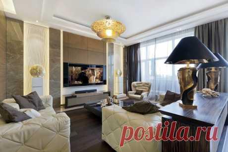 Стильный интерьер гостиной в стиле Арт-Деко. Люксовая квартира всегда вызывает сильные эмоции.