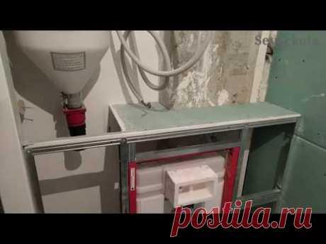 санузел : инсталяция и шкафы как пример дизайна. Монтаж гипсокартона.