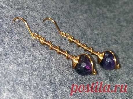 Simple earrings with spherical stones - How to make wire jewelery 141