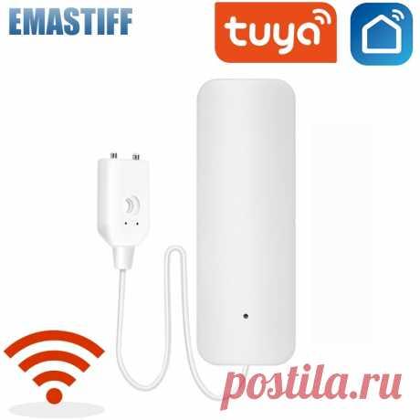 Сигнализация Tuya для дома, автономный датчик утечки воды с Wi Fi, детектор, система оповещения о переполнении   Сенсор и детектор
