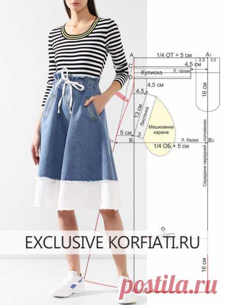 Как сшить джинсовую юбку - прстая выкройка от Анастасии Корфиати