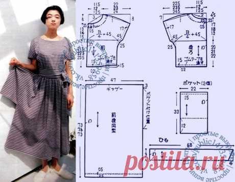 Платье с присборенной юбкой, короткими цельнокроеными рукавами и наружными карманами, выкройка на размеры S, M, L. #простыевыкройки #простыевещи #шитье #платье #выкройка