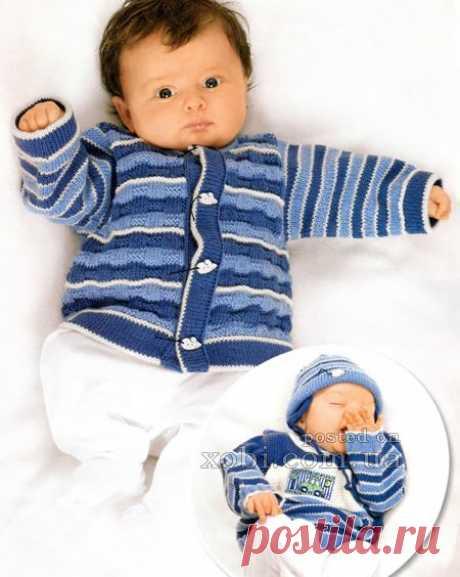 комплект для мальчика: жакет, пуловер и шапочка