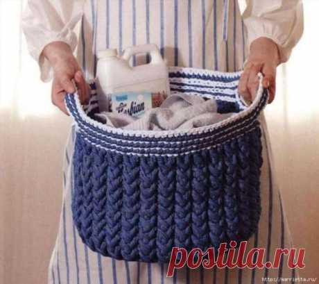 Корзинка для белья крючком. Схемы вязания . Милая Я