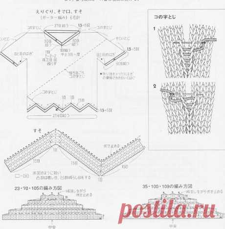 Parte superior delicada con un patrón Ramitas en rombos con agujas de tejer - patrones de tejer