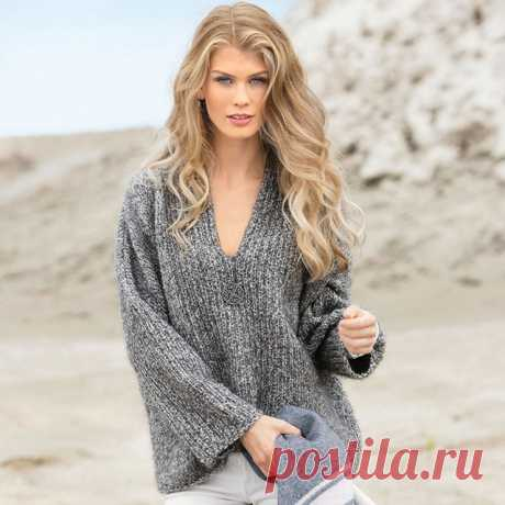 Женские объемные пуловеры из меланжевой пряжи спицами – 3 схемы вязания с описанием