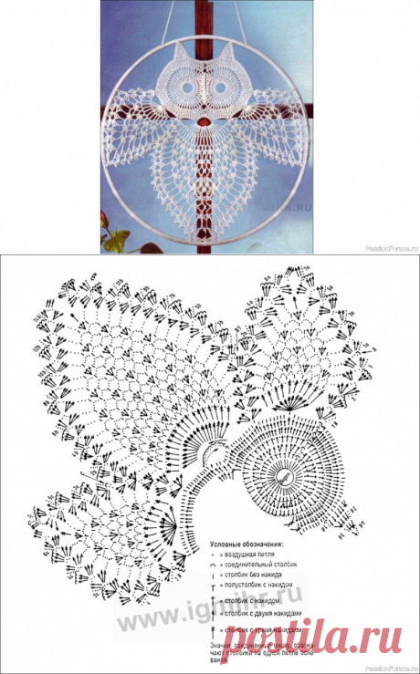 Панно для окна «Белая сова». Описание   Вязаные крючком аксессуары