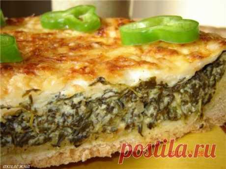 Пирог со шпинатно-творожной начинкой : Выпечка несладкая