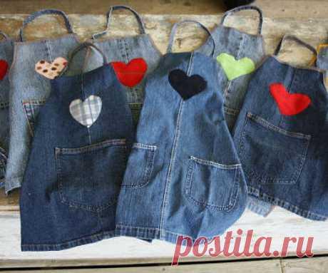 Interesting ideas for decor: Шьем фартук из старых джинсов. We sew an apron of old jeans .