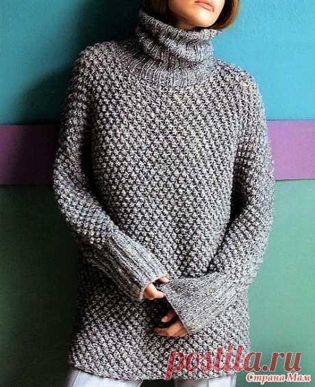 Длинный свитер узором «Шиповник». Спицы. - ВЯЗАНАЯ МОДА+ ДЛЯ НЕМОДЕЛЬНЫХ ДАМ - Страна Мам