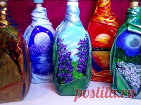DIY Декор бутылок своими руками. Декорирование бутылок. Мастер класс из бутылок. Рисунок на стекле