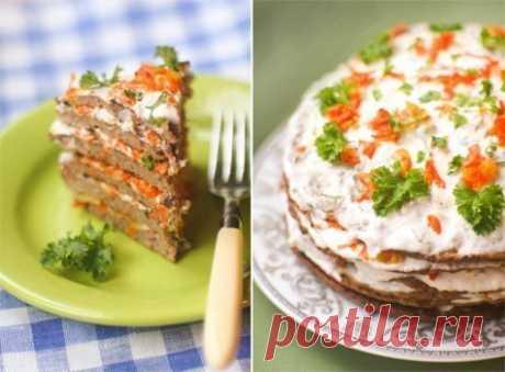 Печеночный торт со сметанным соусом / Изысканные кулинарные рецепты