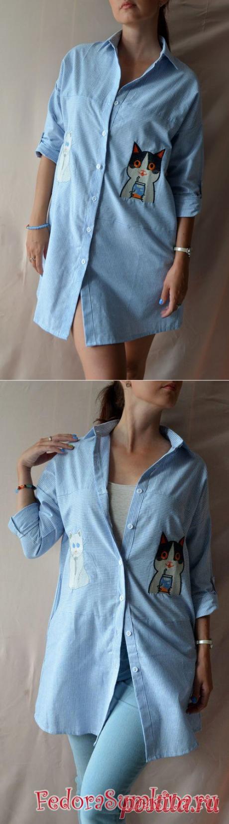 Платье-рубашка с котами из льна