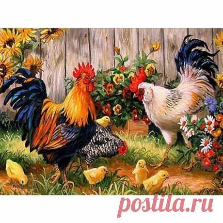Алмазная мозаика с петухом, курицей и цыплятами|Алмазная роспись, вышивка крестом