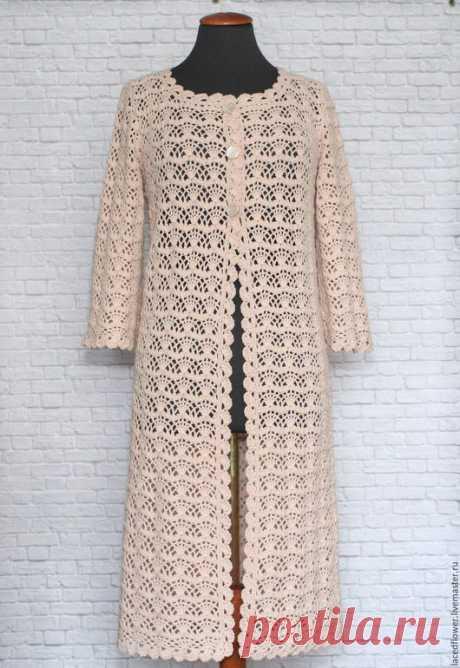 Купить Летнее ажурное пальто Крем-брюле. Ручная работа вязание крючком - кремовый