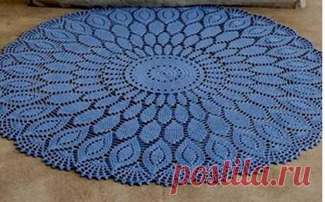 Голубой ажурный коврик. Крючком.Схема